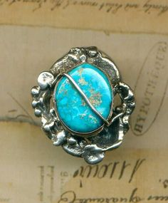 Luis Galarza RING Turquoise Brutalist Period size  6.5 Sterling Silver Equador