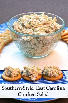 When I visited Eastern North Carolina, I fell for this very finely chopped, pate-like chicken salad (East Carolina style), best served on Ritz crackers, prepared by the most elegant Southern ladies I have ever met.