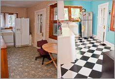 peel and stick vinyl black and white checker flooring diy