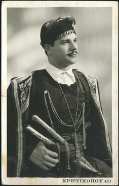 Traditional (Greek) costume from Crete. Late-Ottoman era, end of century. (Crete was a part of the Ottoman Empire until Greek Independence, Greece Pictures, Greek Men, Retro Pictures, Greek Culture, Folk Dance, Photographs Of People, Greek Clothing, In Ancient Times