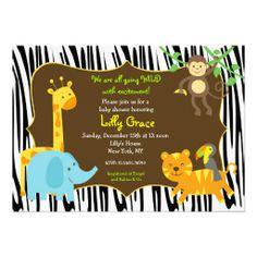Zebra Print Jungle Safari Animal Baby Shower Custom Invitations