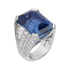Extraordinary, intensely blue Ceylon sapphire of 52.24 carats. An elegant, precious mounting with two open ends that reveal this stone and its exceptional cut. Available at Cartier.