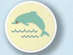 Sweet Dolphin Jumping Over Waves. Cross Stitch PDF by andwabisabi