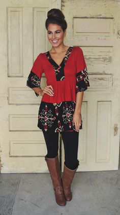 Dottie Couture Boutique - Red Tribal Tunic Dress, $42.00 (http://www.dottiecouture.com/red-tribal-tunic-dress/)