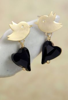 Love Birds with Heart crystals earrings simple