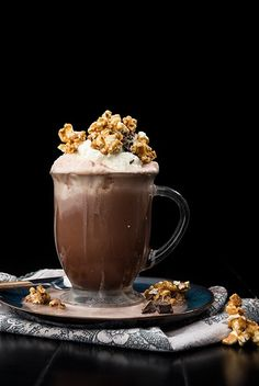 OH BOY!!! Caramel hot chocolate is delicious on its own but pair it with a handful of crunchy homemade caramel corn and the decadence level of this recipe explodes!