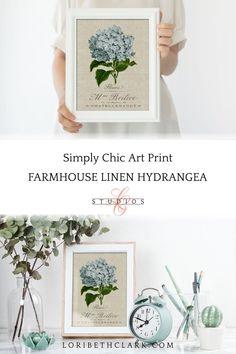 Farmhouse Wall Art Hydrangea Print Botanical Floral Art | Etsy Framed Botanical Prints, Botanical Wall Art, Floral Wall Art, Flower Artwork, Flower Wall, Farmhouse Wall Art, Farmhouse Decor, Art Prints For Sale, Plant Art