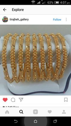 Gold Bangles Design, Gold Earrings Designs, Gold Jewellery Design, Gold Jewelry, Necklace Designs, Jewelry Art, Gold Necklace, Indian Jewelry Sets, Bangle Set