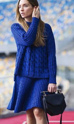 All blue knit ensemble with a black M2Malletier bag