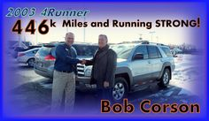 Bob Corson, local business for Sys. Analyst & Forensic Examier, bought this 2003 #4Runner as NEW... Still unbeatable!