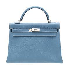 Hermes Kelly Bag | Hermes Kelly bag 32 retourne Blue jean Clemence leather Silver h [$491 ...
