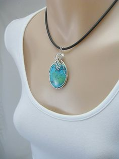 Turquoise Pendant Wire Wrapped Pendant by RiverGumJewellery, $102.00