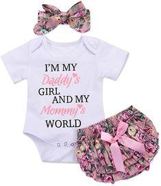 Infant Baby Girls Bodysuit Short-Sleeve Onesie Heart Hurt Print Outfit Autumn Pajamas