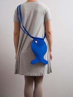 Animal Bag Fish Purse Kids Bag Small Bag Purse Blue Fish by Marewo