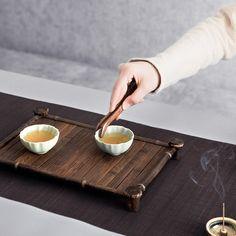 又見造物 功夫茶具配件套裝雞翅整套黑檀實木陶瓷組合 茶道六君子