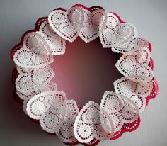 heart doily wreath