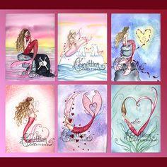 6 VALENTINE'S DAY MERMAIDS Note Cards (1)