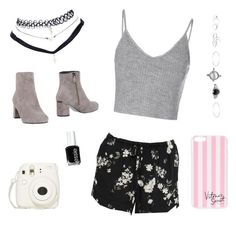 """""""grey"""" by hcumins ❤ liked on Polyvore featuring Glamorous, Wet Seal, Victoria's Secret, Essie and Lola Cruz"""