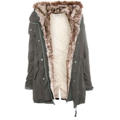 Pull & Bear Parka With Fur Hood ($105) ❤ liked on Polyvore featuring outerwear, coats, jackets, tops, khaki, khaki coat, fur hood parka, black parka, fur hood coat and black coat
