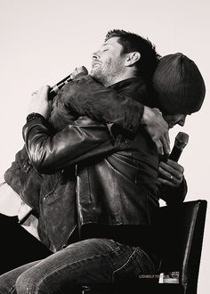 Jensen Ackles and Jared Padalecki. Their on-screen chemistry and fact that they're real-life besties, are what make Supernatural so much fun. Dean Winchester, Winchester Brothers, Sammy Supernatural, Dean Castiel, Supernatural Seasons, Supernatural Bunker, Supernatural Pictures, Supernatural Quotes, Sherlock Quotes
