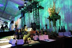 Custom gobos reflected off of the white marquee adding a magical glow to the event space