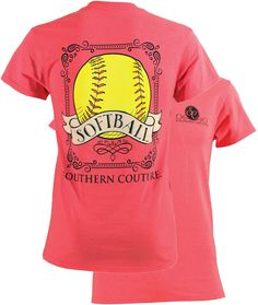 Southern Couture Preppy Vintage Softball Sports Girlie Bright T Shirt Available in sizes- S,M,L,XL,2X,3X
