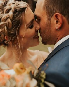 Up close and personal bride and groom portrait shot with boho braid Bride And Groom Pictures, Wedding Pictures, Portrait Shots, Portraits, Wedding Poses, Wedding Ideas, Emotional Photography, Close Up Photos, Our Wedding Day