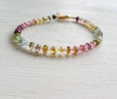 Bracelet Rainbow Tourmaline & Moonstone Natural Gemstone, Crystal Beaded Stacking Delicate Bracelet, Tourmaline Bracelet, Moonstone Bracelet 52,00 US$