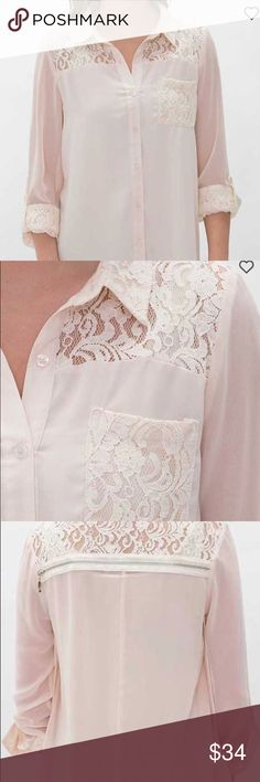 Miss Me Ivory Retro Romance Peasant Blouse Beautiful ivory blouse with lace detail on the back and the front pocket Miss Me Tops Blouses