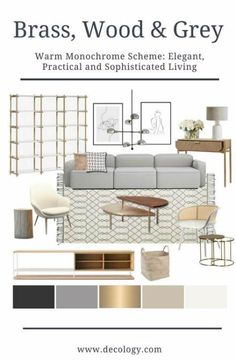 Contemporary Monochrome- Natural woods and fabrics have been added to a monochrome palette by our interior designers, to bring warmth and interest int… Living Room wood Room Design, Grey Couch Living Room, Gold Accents Living Room, Living Room Shelves, Living Room Grey, Couches Living Room, Gold Living Room, Living Room Wood, Rugs In Living Room