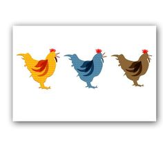 three speckled hens
