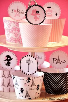 PARIS PARTY cupcake wrappers and 2 inch circle tags, you can use as cupcake toppers, tags, decorating cups and much more.