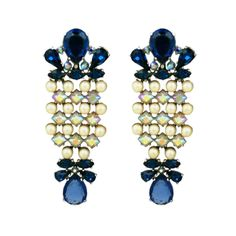 (unsigned) House of Schiaparelli (faux) Sapphire, Pearl and Aurora (RS) Long Earrings, USA,1950s (already sold)
