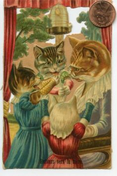 Antique Victorian Die Cut Scrapbooking Cats Kittens | eBay