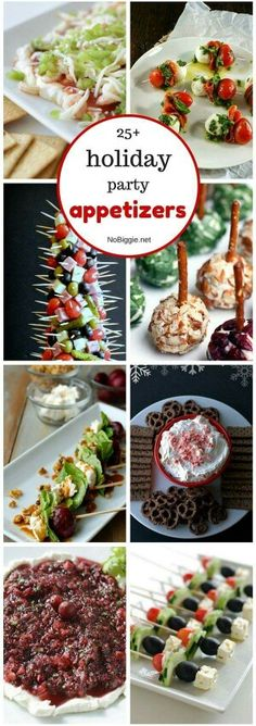 25 holiday party appetizers via Holiday Party Appetizers, Christmas Party Food, Xmas Food, Snacks Für Party, Finger Food Appetizers, Holiday Treats, Christmas Treats, Appetizer Recipes, Holiday Recipes