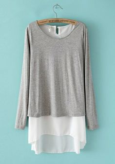 Grey Chiffon Blending Round Neck Long Sleeve Patchwork TOPS