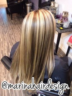 Chunky Blonde Highlights Brown Lowlights. Hair Ideas Marina Hair Design. Huntington Beach CA