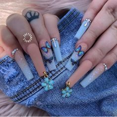 Bling Acrylic Nails, Simple Acrylic Nails, Clear Acrylic Nails, Summer Acrylic Nails, Spring Nails, Summer Nails, Butterfly Nail Designs, Acrylic Nail Designs Coffin, Coffin Shape Nails
