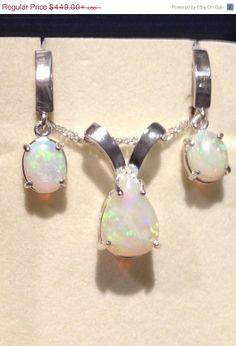 Australian Opal Earrings and Pendant  Crystal Opal