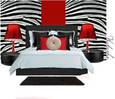 Red zebra Bedroom., created by wakesho-eddah on Polyvore
