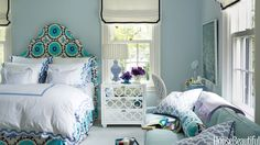 Bedroom Colors Ideas Pictures for Inspiration - Home Interior Design Beautiful Bedrooms, Beautiful Homes, House Beautiful, Romantic Bedrooms, Pleated Lamp Shades, Sweet Home, Bedroom Paint Colors, Home Decor Bedroom, Blue Bedroom