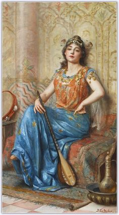 Paul Antoine de La Boulaye Oriental Beauty with Dutar and Tambourine, oil, 1892 Foto Poster, A4 Poster, Empire Ottoman, Art History Lessons, Arabian Art, Academic Art, Classic Paintings, Art Paintings, Historical Art