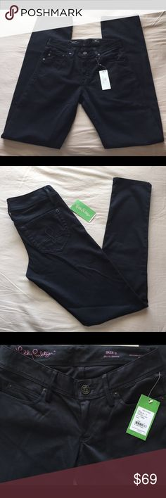 "Lilly Pulitzer Worth Skinny Stretch Jeans Pants New with tag $158. Low-rise Pants / Sateen Jeans with Skinny Leg, Single Shank Button Closure on Waistband & L Logo Back Pocket. Machine Wash Cold. Material: 60% Cotton, 27% Rayon, 11% Polyester, 2% Polyurethane. Size 0. Measures lying flat unstretched: 14.75"" Waist, 30.5"" Inseam, 5.25"" leg opening, 6.5"" mid leg width, 6.5"" Rise, 16"" Hips. CONDITION: Item may have been tried on by customers in store. Item color appearance may vary slightly…"