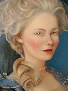 Kirsten Dunst painted as Marie Antoinette in the Vigee Lebrun portrait. From the film Marie Antoinette directed by Sophia Coppola.