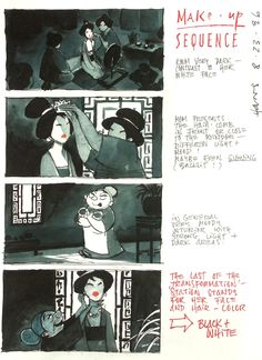 Disney way of telling a story in it's initial first stages of development  - Mulan storyboard