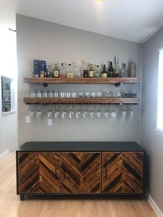 """Best Built In Bar With Floating Shelves Furniture Designs To many of us, the term """"built-in a bar"""" just brings up images of corporate dining rooms that have an old-fashioned feel to them. Diy Home Bar, Home Bar Decor, Bars For Home, Diy Bar, Home Wine Bar, Coffee Bar Home, Wine And Coffee Bar, Coffee Bar Design, Bar Shelves"""