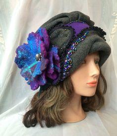 Molleton chaud concepteur chapeau gris gris fleur par Tatiana123