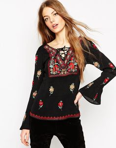ASOS Floral Embroidered Blouse