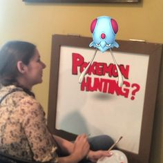 While working on our Pokemon Hunting sign, a Tentacool appeared and distrusted volunteer Lauren's hard work! We got him in the end! #pokemongo #pokemuseum #volunteers #oshawamuseum #oshawa