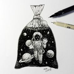 Little man have been trapped in plastic bag like marine animals. - Little man have been trapped in plastic bag like marine animals. Art And Illustration, Illustration Tutorial, Illustration Animals, Ink Illustrations, Space Drawings, Cool Art Drawings, Art Drawings Sketches, Tattoo Drawings, Pencil Drawings